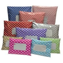 Bright and colourful pre-printed polka dot mailing bags in various colours