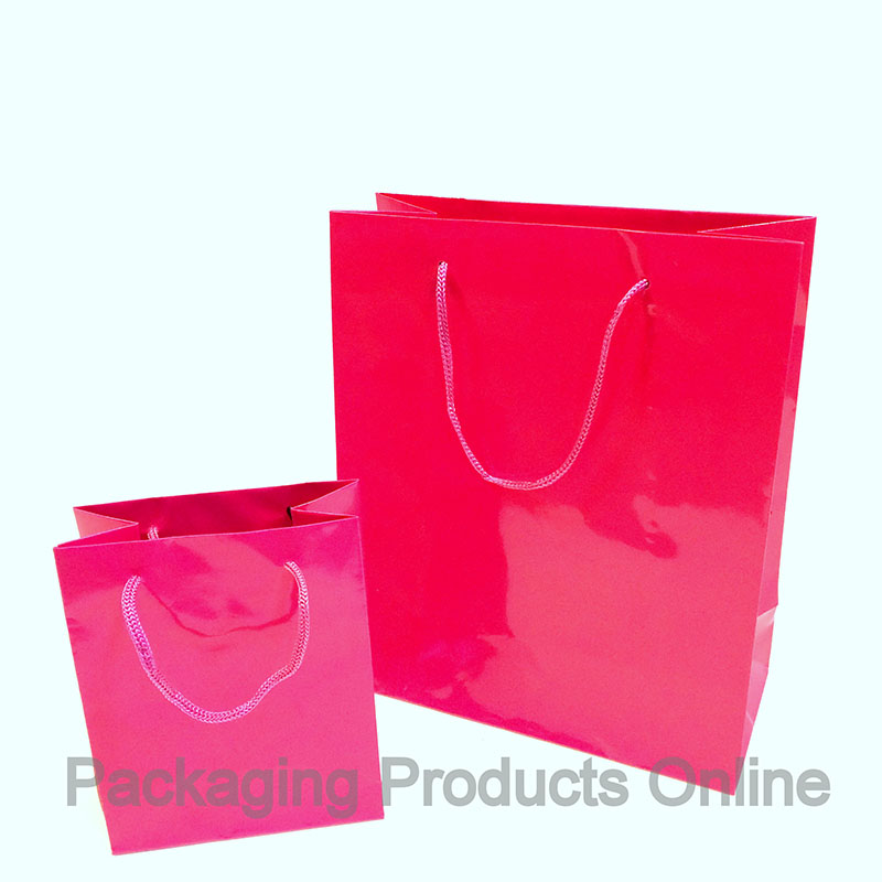 Paper Gift Bags –- Glossy Fuchsia Pink - Packaging Products Online