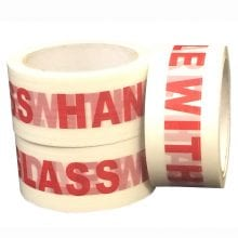 Printed Packaging Tape with the words glass handle with repeatedly printed in bold capitalized red writing.