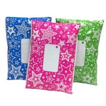 A selection of divinely different mailing bags, printed with a bright star pattern. Available in 3 colours Blue, Pink & Green