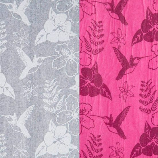 White & Cerise Printed Hummingbird patterned tissue paper