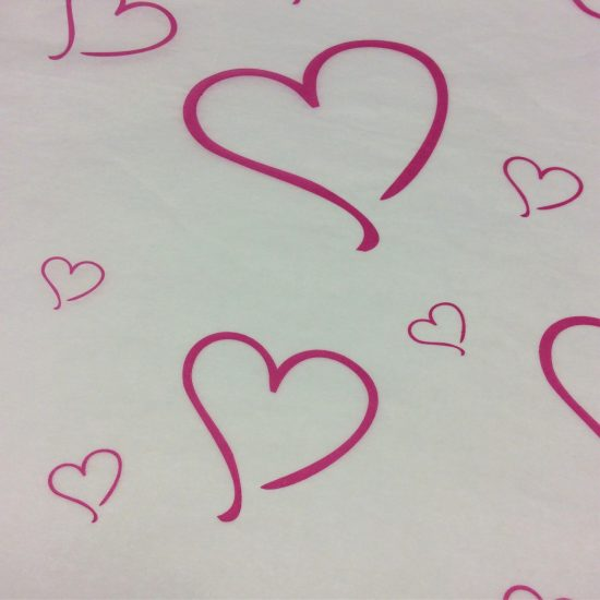 Printed Pink Heart Tissue Paper