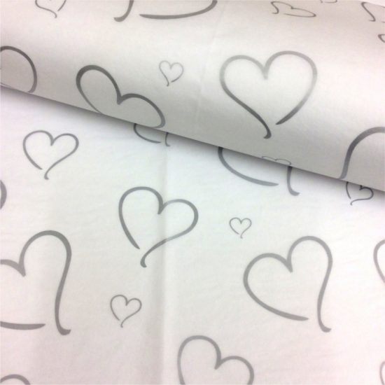 Printed Silver Heart Tissue Paper