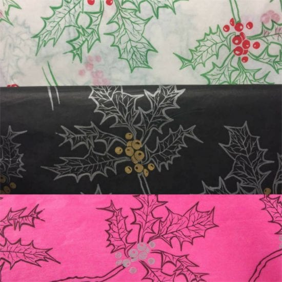 Group Christmas Printed Holly Tissue Paper