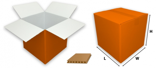 0201 single wall coloured orange cardboard boxes