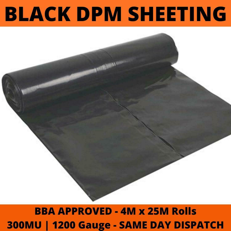 Damp Proof Membrane Black 1200g 300MU Polythene Sheeting DPM Roll 4m Wide x 25m